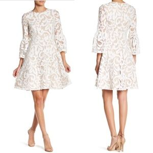 Eliza J Bell Sleeve Fit & Flare Ivory Lace Dress